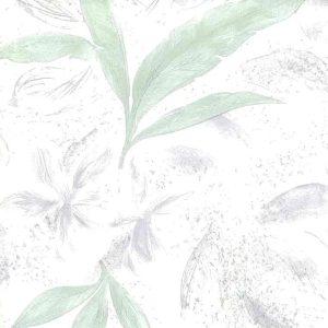 leaf embossed vintage wallpaper, glazed, green, pink, nature, botanical, Asian