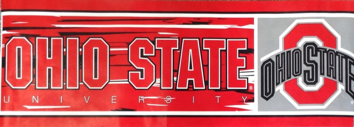 Ohio State wallpaper border, red, gray