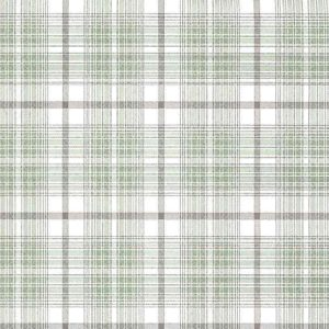 Plaid Wallpaper Brown Green Cream Cottage Kitchen WV7322 D/Rs