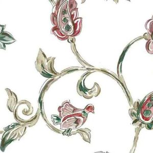 Jacobean Vintage Wallpaper Floral Birds Green Red KM3153 D/Rs