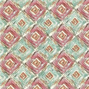 Vintage Greek Key Wallpaper Diamond Pink Teal PL2172 D/Rs