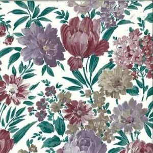Lush Floral Vintage Wallpaper Lavender Green Red 17923 D/Rs