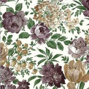 Vintage Victorian Floral Wallpaper Purple Taupe Green 17924 D/Rs