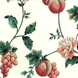 Peach Floral Vintage Wallpaper Kitchen Fruit Grapes RC12942 D/Rs