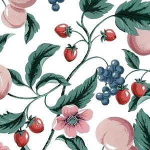 Vintage Waverly Peaches Wallpaper Kitchen Pink Floral 558130 D/Rs