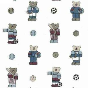 Sports Bear Vintage Wallpaper Soccer Baseball Football Children QF3013 D/Rs