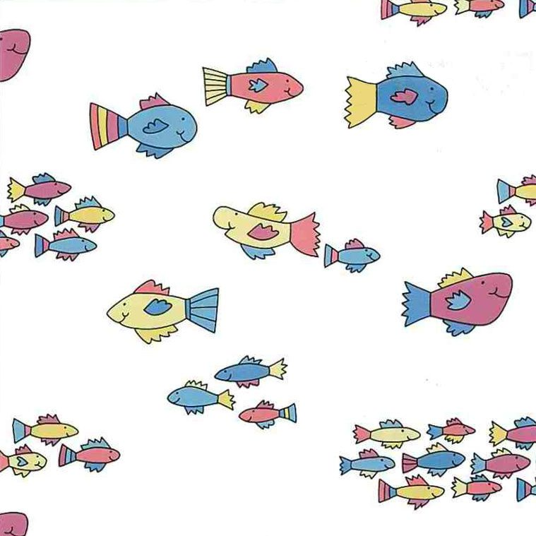 Pastel Fish Vintage Wallpaper on White
