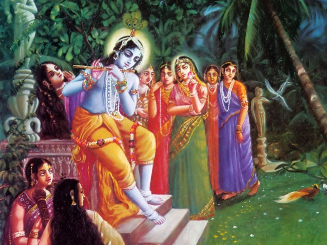 Krishna-Plays-on-His-Flute-in-the-Forrest-of-Vrindavan-and-the-Gopis-are-Attracted