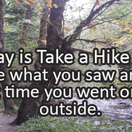 Writing Prompt for November 17: Take a Hike Day