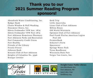Thank you to our 2021 Summer Reading Program sponsors!