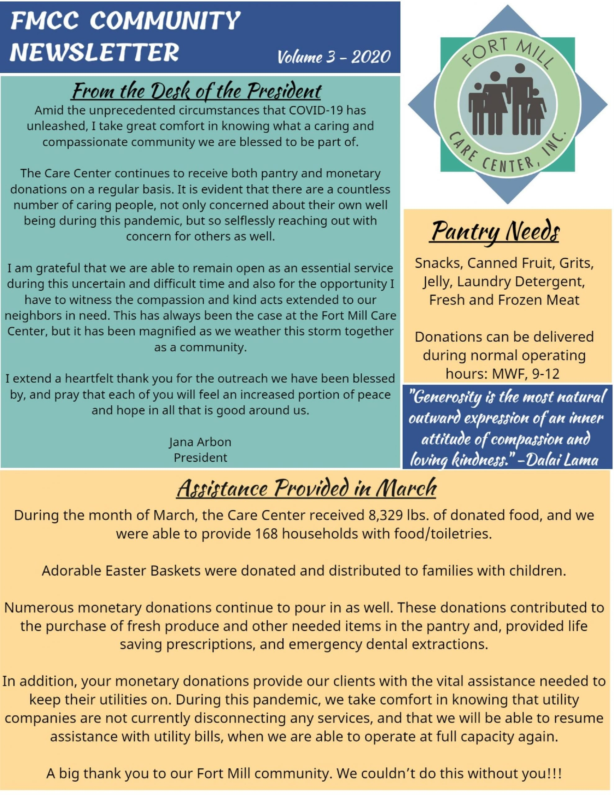 Fort Mill Care Center Community Newsletter Volume 3