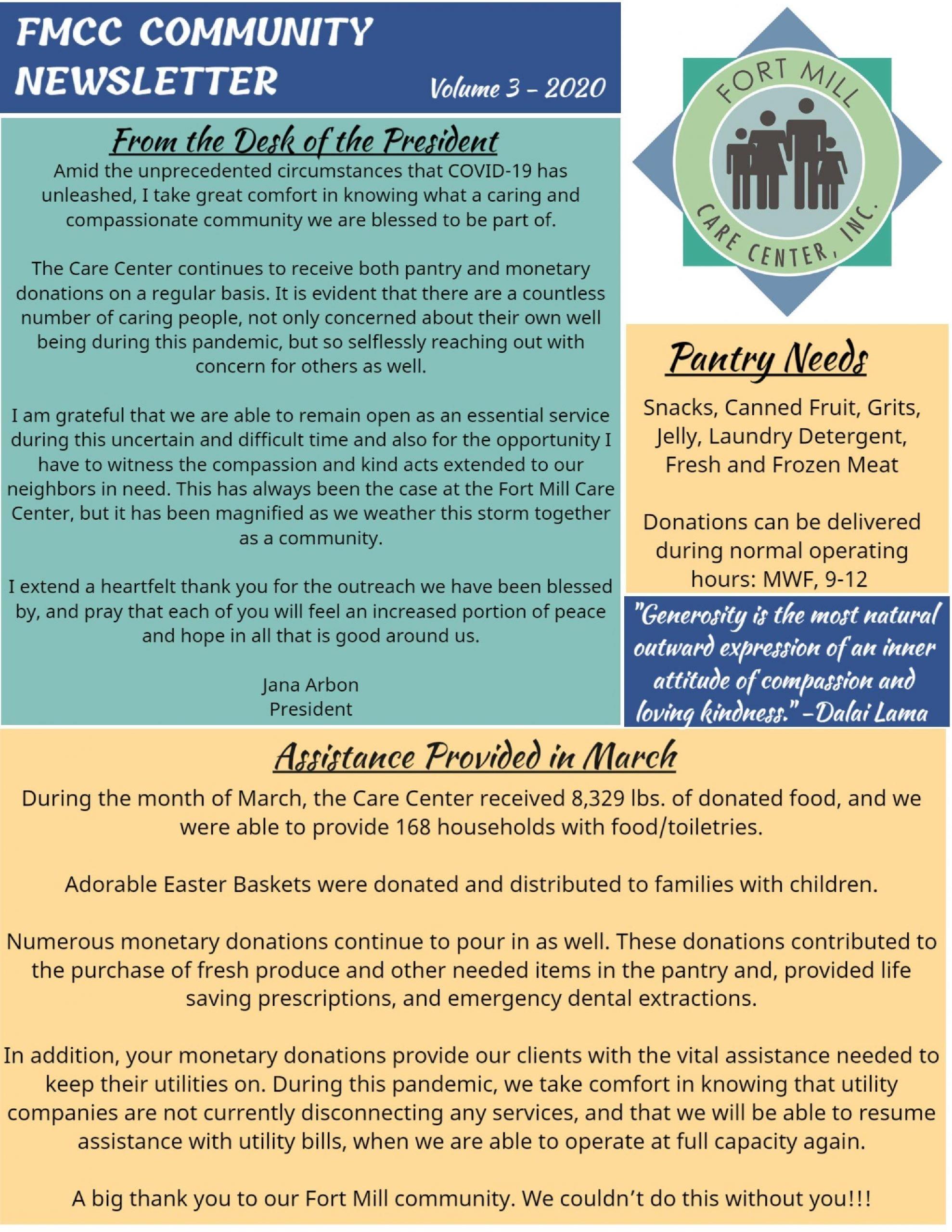 Fort Mill Care Center Community Newsletter Volume 3