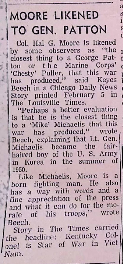 Chicago Daily News Story references Moore as General Patton of Vietnam
