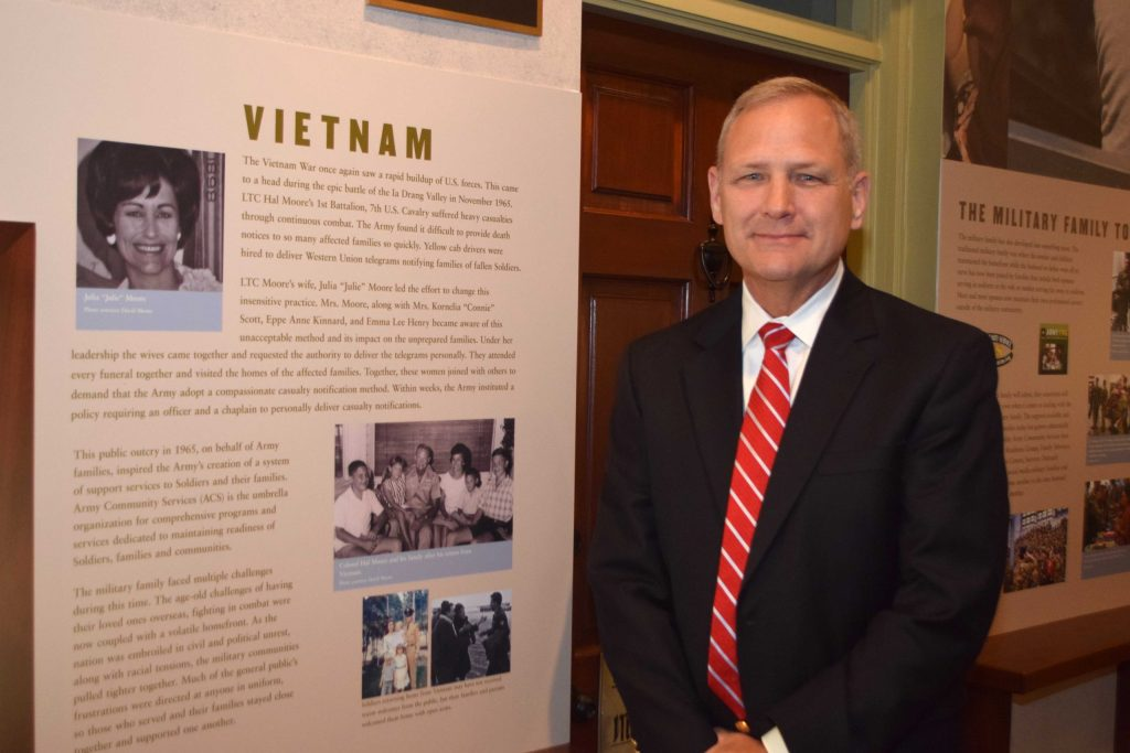 David Moore at Julie Moore display in the Infantry Museum