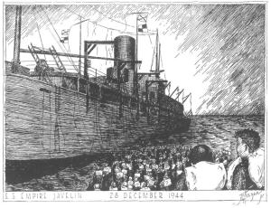 Empire Javelin loading - sketch by Hazen