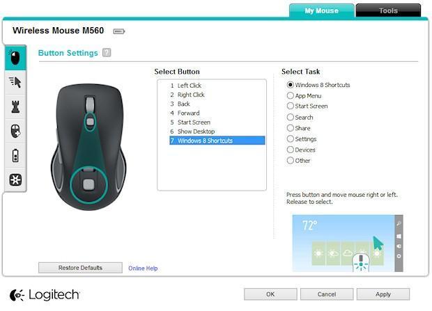 Logitech M560 Wireless Mouse - SetPoint