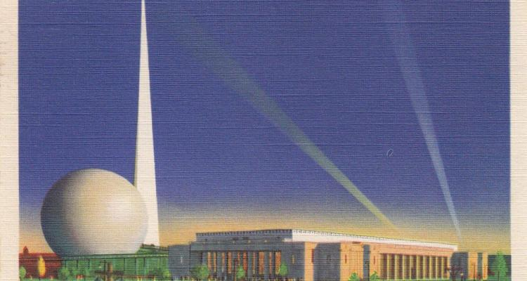 Looking At All-Star Squadron's Headquarters, The Perisphere And Trylon