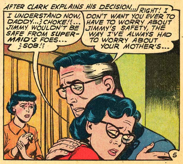 Lola Kent (Supermaid), with Lois Lane in Superman's Pal Jimmy Olsen #56 (October 1961)