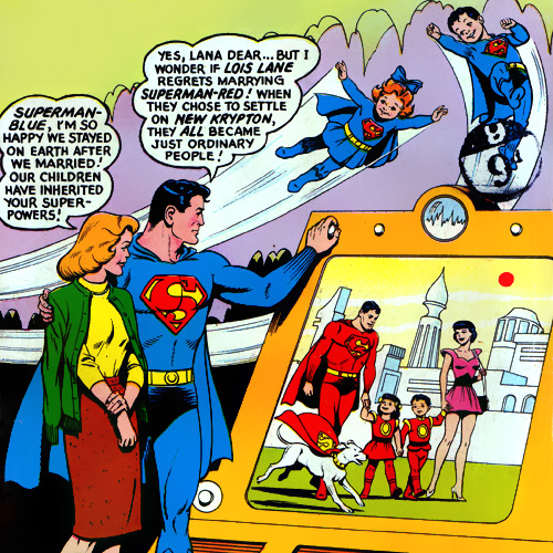 Two sets of twins with Lana Lang (as Superman Blue) and Lois Lane (as Superman Red) in Superman #162 (July 1963)