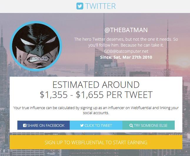 batman twitter webfluential