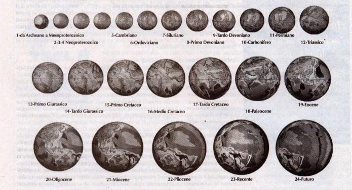 Figura 1: Modelli di Terra in espansione, dall'Archeano sino al futuro, che mostrano le antiche linee costiere (linee scure), le terre emerse ed i mari continentali poco profondi. Ogni immagine procede di 15 gradi di longitudine lungo la sequenza per mostrare un'ampia copertura dello sviluppo geografico durante gli enoni Precambriano e Fanerozoico.