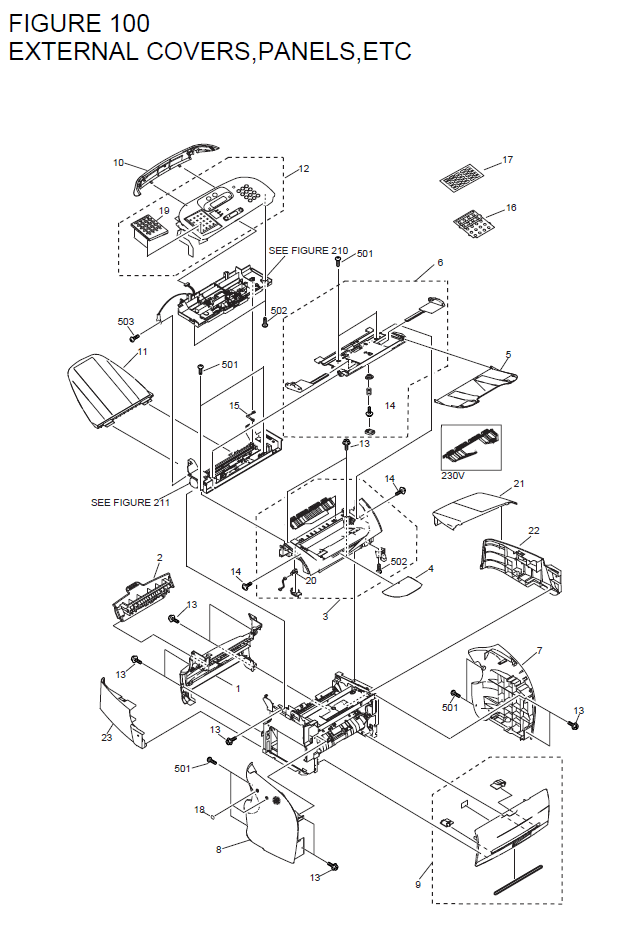 Canon FAX-L380S Parts List and Diagrams