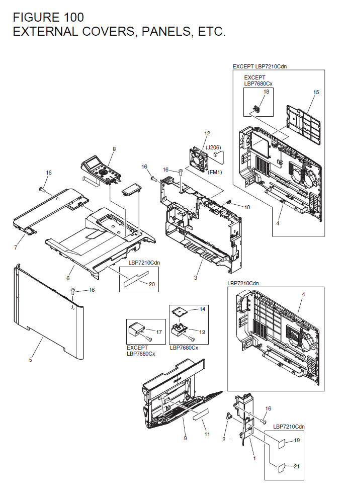 Canon imageCLASS LBP7660Cdn Parts List and Diagrams