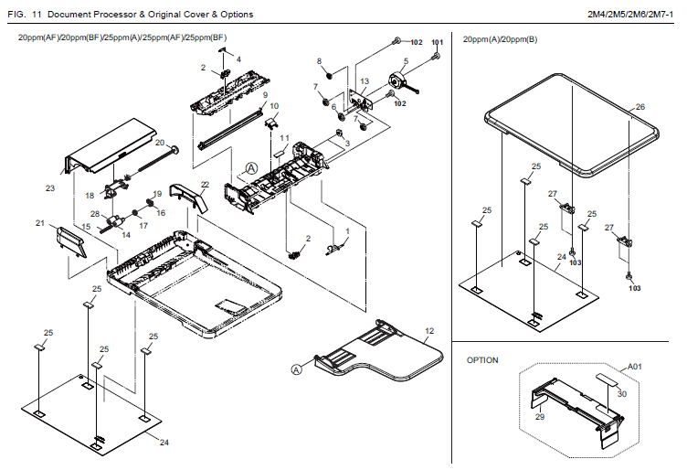 Kyocera ECOSYS FS-1025MFP Parts List and Diagrams