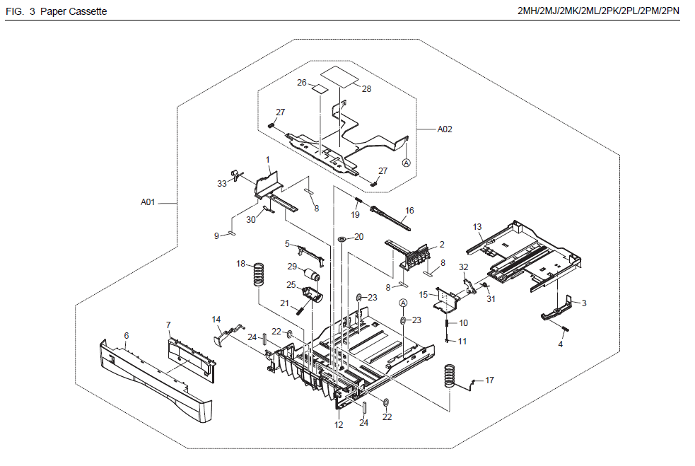 Kyocera ECOSYS M2035dn Parts List and Diagrams
