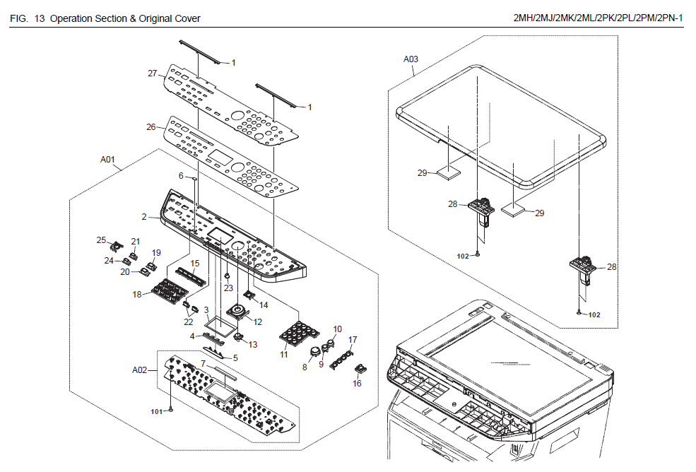 Kyocera FS-1035MFP Parts List and Diagrams