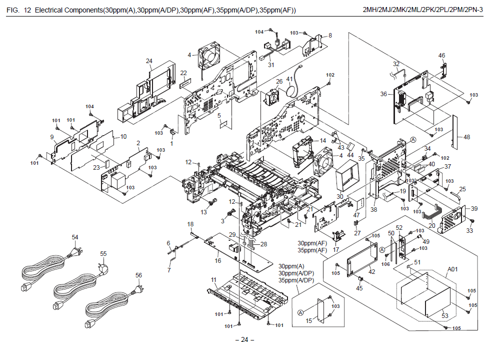 Kyocera FS-1130MFP Parts List and Diagrams
