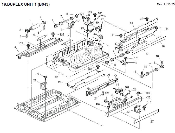 Ricoh Aficio 1018 Parts List and Diagrams