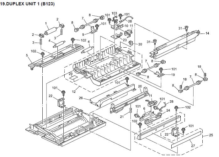 Gestetner DSm616, DSm620, DSm620d Parts List and Diagrams
