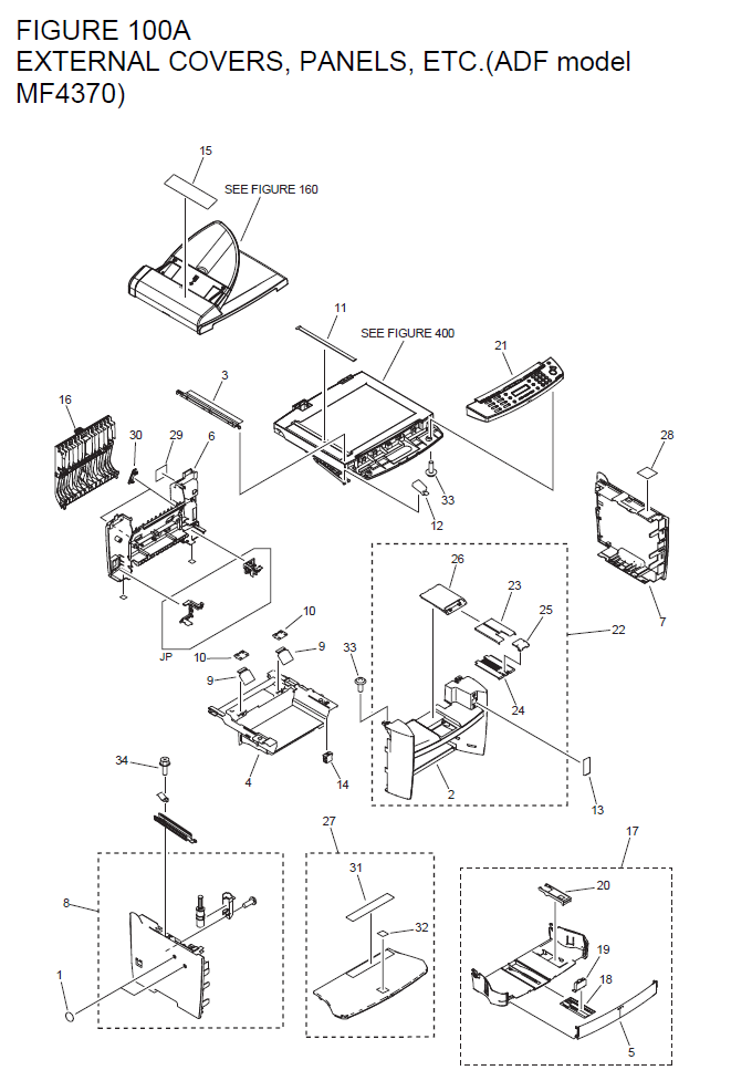 Canon imageCLASS MF4380dn Parts List and Diagrams