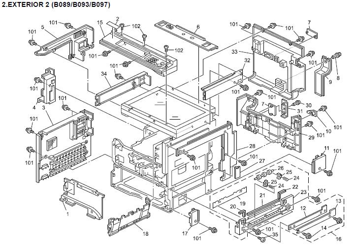 Ricoh Aficio 2022, Aficio 2027 Parts List and Diagrams