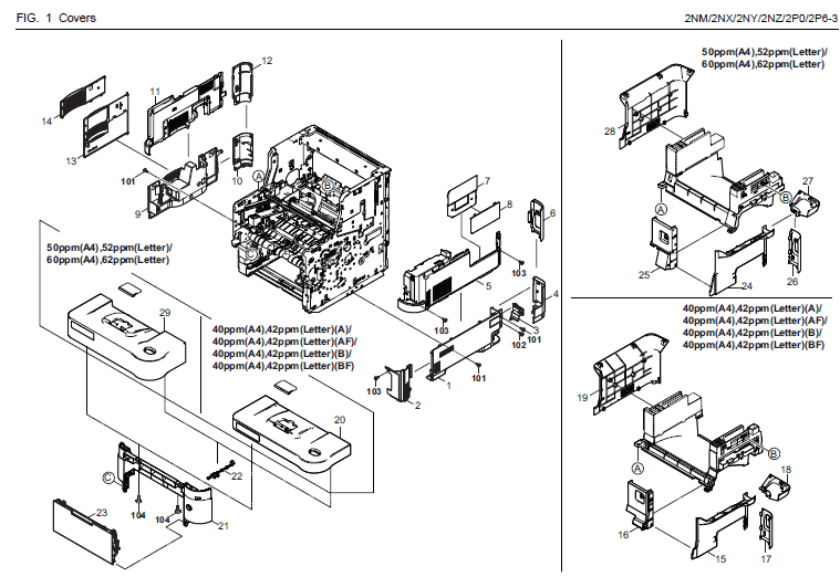 Kyocera ECOSYS M3540idn Parts List and Diagrams