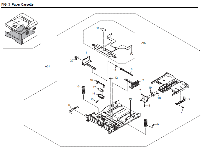 Kyocera ECOSYS P2135d Parts List and Diagrams