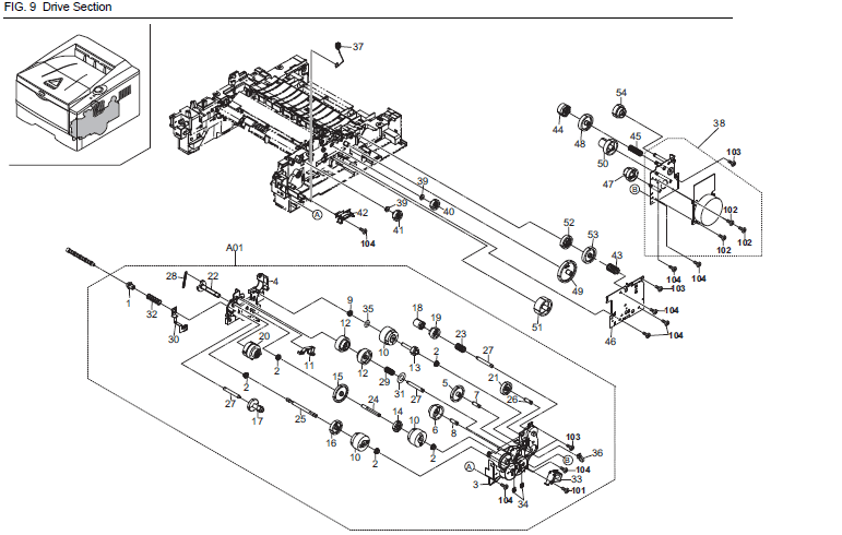 Kyocera FS-1120D Parts List and Diagrams