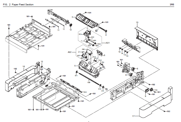 Kyocera ECOSYS P5026cdw Parts List and Diagrams
