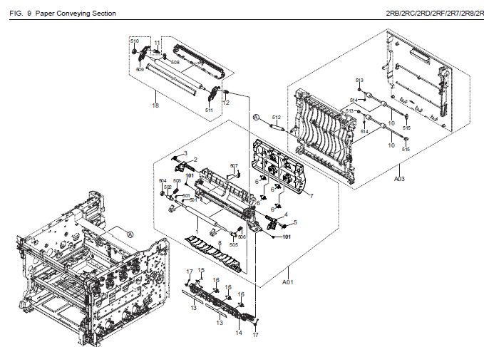 Kyocera ECOSYS M5521cdw Parts List and Diagrams
