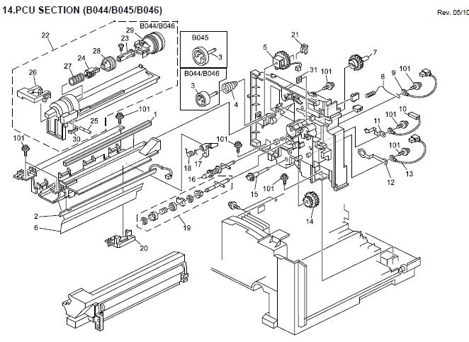 Gestetner 1302, 1302f Parts List and Diagrams