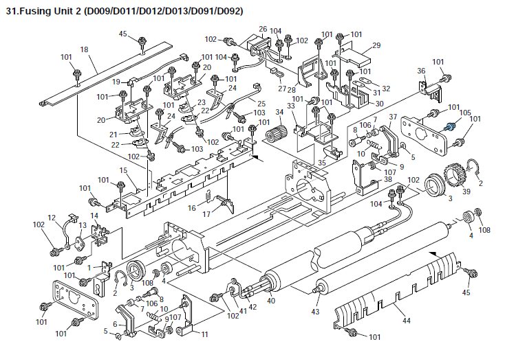 Gestetner MP 5001 Parts List and Diagrams