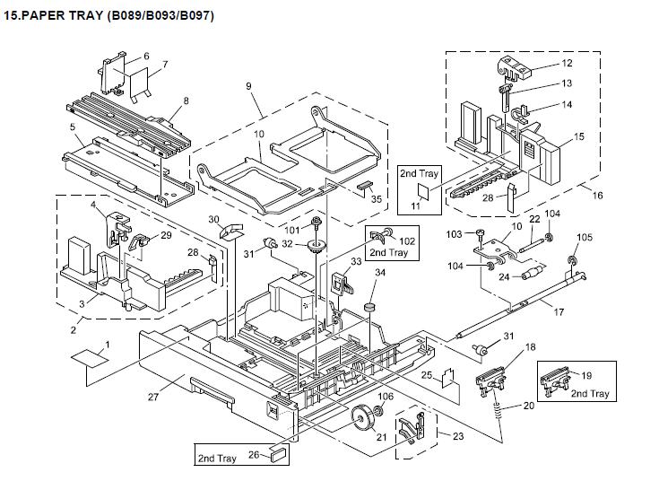 Gestetner DSm622, DSm627 Parts List and Diagrams