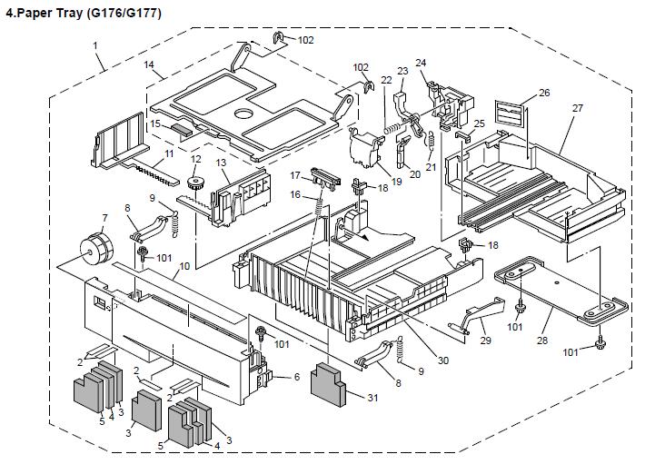 Savin MLP31n, MLP36n, MLP31nL Parts List and Diagrams Manual
