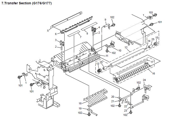 Gestetner P7031n, P7035n, P7031nL Parts List and Diagrams