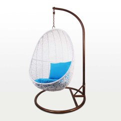 Garden Swing Chair Singapore Star Furniture Dining Chairs White Cocoon Blue Cushion Outdoor