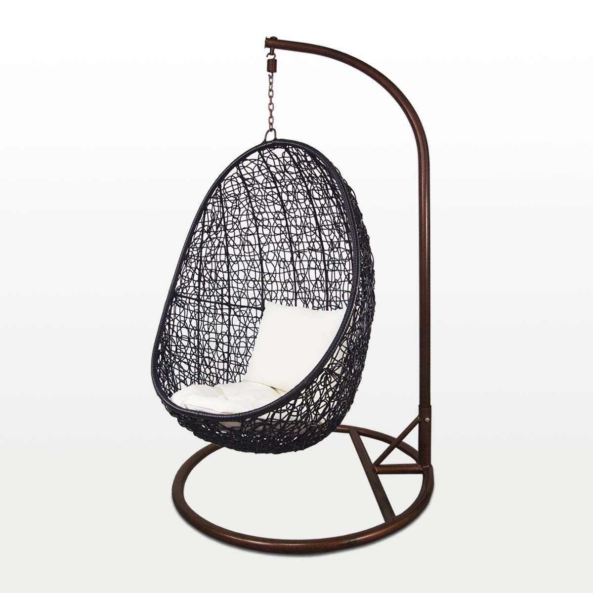 garden swing chair singapore bedroom under £100 black cocoon white cushion outdoor