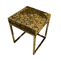 Round Wood Mosaic Coffee Table B