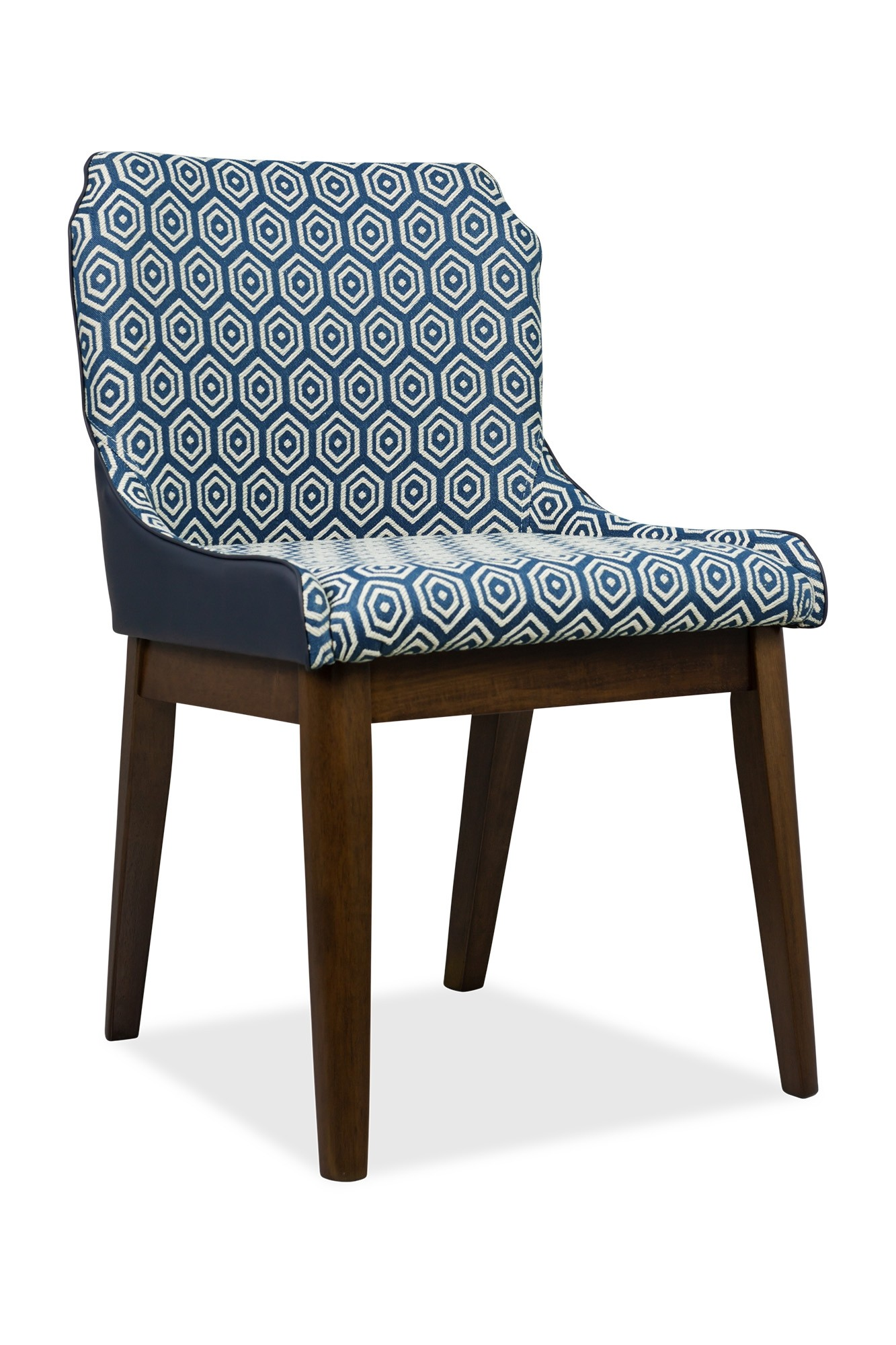 hight resolution of fanni dining chair walnut with pu navy blue cushion