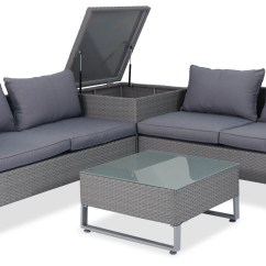 Sofa Box Table Sets Royal Synthetic Rattan Outdoor Set With Storage Grey